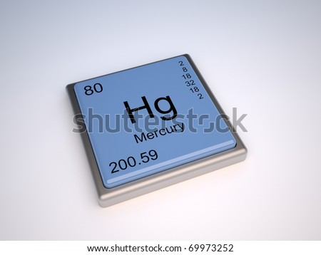 Mercury chemical element of the periodic table with symbol Hg - IUPAC - stock photo