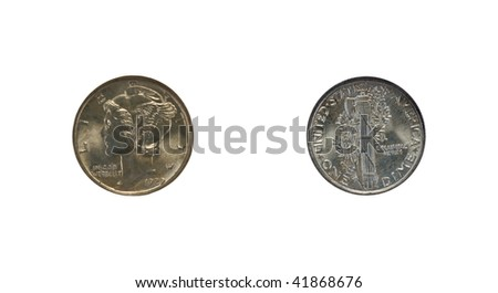 Mercury dime isolated on white