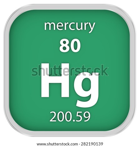 Mercury material on the periodic table. Part of a series. - stock photo