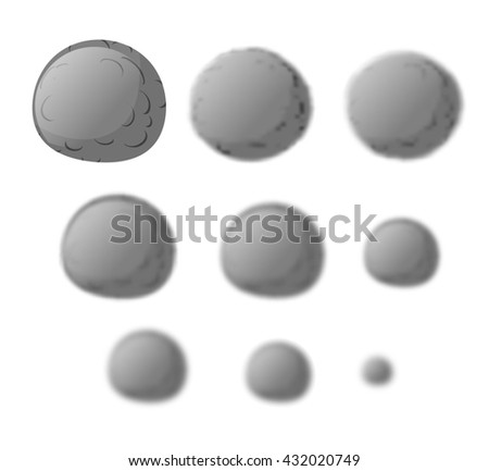 Mercury. Planet Mercury isolated. Set planet Mercury with varying degrees of blur. blur effect mercury. Astronomical objects. Cosmic star - stock photo