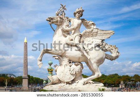 Mercury riding Pegasus sculpture of Tuilerie garden, Paris, France. Originally it was build in 1701-1702 by Antoine Coysevoxin, and now replaced by a copy - stock photo
