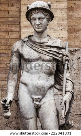 Mercury, the patron of merchants and travelers and the messenger of gods  - stock photo