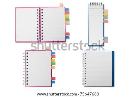 Merge notebook on white background - stock photo