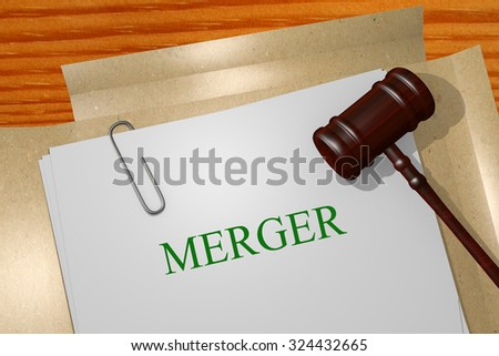 Merger Title On Legal Documents - stock photo