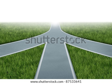 Mergers and partnerships converging on a road with the same strategy and vision for the success of a company by working together as a conglomerate represented by three roads merging together into one. - stock photo