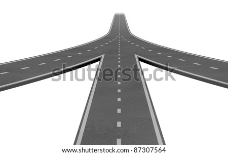 Mergers and partnerships converging on the same road as a team sharing the same strategy and vision for the success of a company working together three roads as they merge together into one highway. - stock photo
