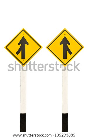 Merging lane from left and right road signpost isolated on white background - stock photo