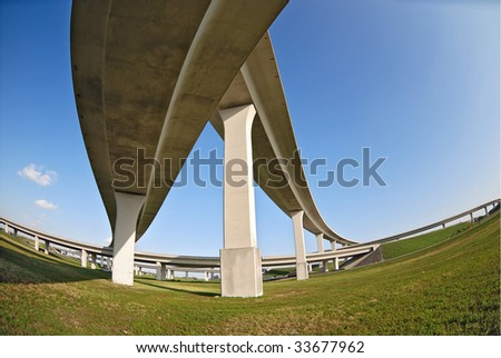 Merging overhead expressways from a skewed perspective with fish-eye lens.