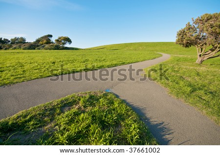 Merging Path on green landscape - stock photo