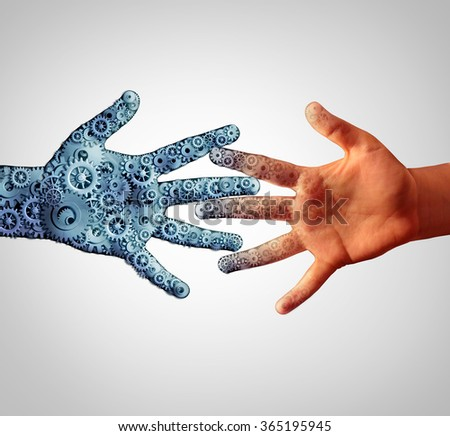 Merging with technology with man and machine coming together and merging into one as a technological concept of human computer engineering joining together with the intelligence of people.