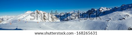 Meribel and Mont Blanc panorama, shot was made from Val Thorens. - stock photo