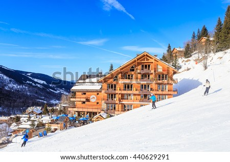 MERIBEL, FRANCE - JANUARY 26, 2016: Chalet on the slopes of the valley Meribel. Ski Resort Meribel Village Center (1450 m). France