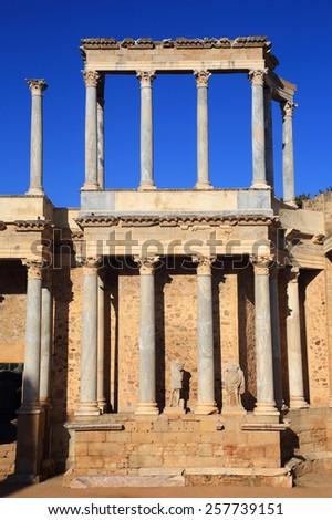 Merida, Badajoz Province, Extremadura, Spain The first century BC Roman theatre. UNESCO World Heritage Site. - stock photo