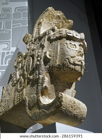 Merida, Mexico, January 22, 2015: Profile of Mayan religious statues on display in the new Museo del Maya Mundo in Merida Mexico - stock photo