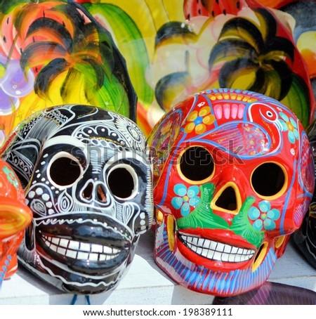 """MERIDA, MEXICO - MAR 26th, 2014: """"Oaxaca in Merida"""" - Food and Handcrafts Event. Traditional mayan skulls. - stock photo"""