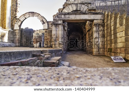 Merida, November 2012. Roman Theater ruins in Merida, capital of Extremadura region in Spain. Year 16 - 15 BC.  Nowadays in use for performances. Archeological site UNESCO World Heritage Site. Gallery - stock photo