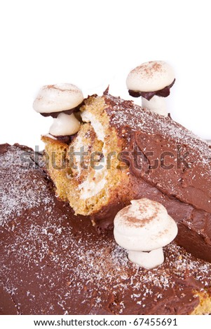 meringue mushrooms on chocolate iced log roll cakes with whipped cream filling, isolated on white for your text