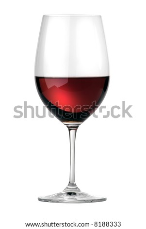 Merlot wineglass isolated - stock photo