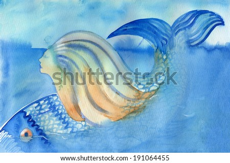 Mermaid and fish diving down abstract watercolor painting. Mermaid diving under the water with fish - stock photo