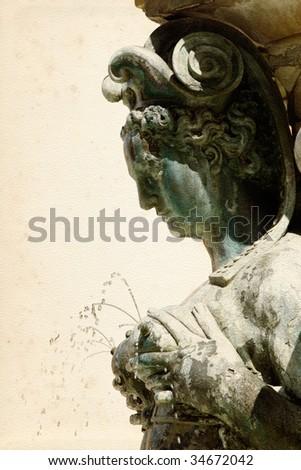 Mermaid fountain in the Piazza Maggiore, Bologna, symbolising fertility. Sculpted by Giambologna (Jean Boulogne 1529-1608) - stock photo
