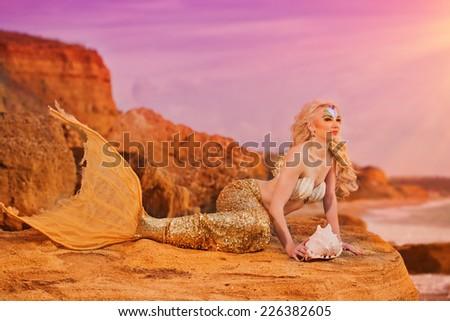 Mermaid sitting on the seashore - stock photo