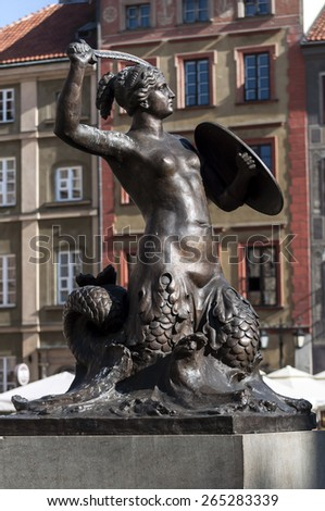 Mermaid statue in the Old Town Square of Warsaw, Poland.