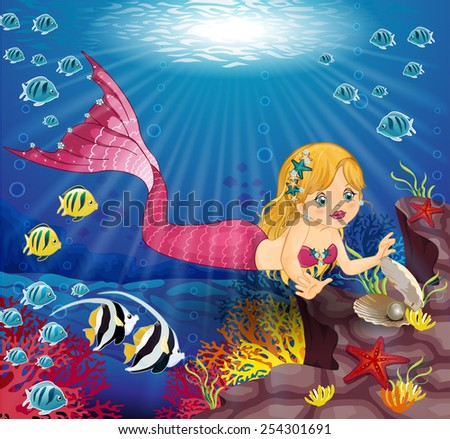 Mermaid  with Pearl in the bottom of the ocean - stock photo