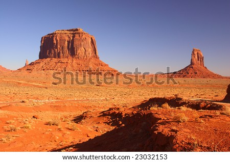 Merrick Butte and one of the Mittens in Monument Valley, Navajo Nation, Utah - stock photo