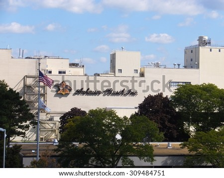 MERRIMACK, NH - SEP 26: Anheuser-Busch brewery in Merrimack, New Hampshire, the easternmost and one of their smallest plants in the United States, seen on Sep 26, 2015. It is home to a brewery tour. - stock photo