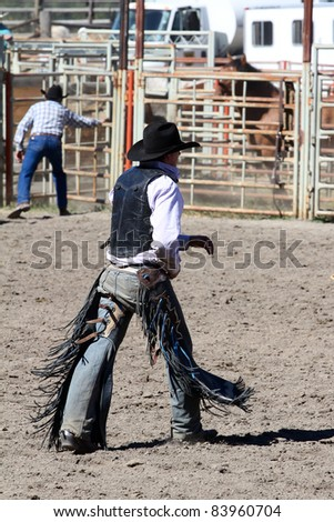 MERRITT, B.C. CANADA - SEPTEMBER 3: Cowboy after a fall at The 52nd Annual Pro Rodeo September 3, 2011 in Merritt British Columbia, Canada