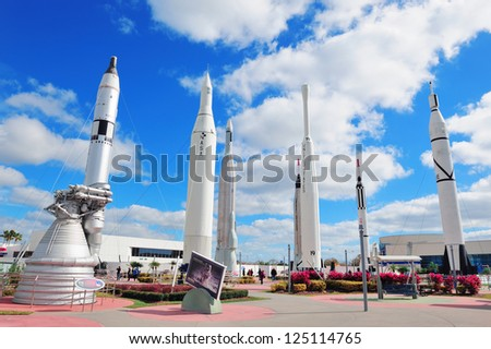 MERRITT ISLAND, FL - FEB 12: Kennedy Space Center Rocket Garden view on February 12, 2012 in Merritt Island, Florida. It is the launch site for every United States human space flight since 1968. - stock photo