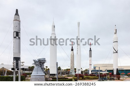 MERRITT ISLAND, FLORIDA - NOVEMBER 22:  The Rocket Garden at Kennedy Space Center pictured on November 221, 2014.  It is the launch site for every United States human space flight since 1968.