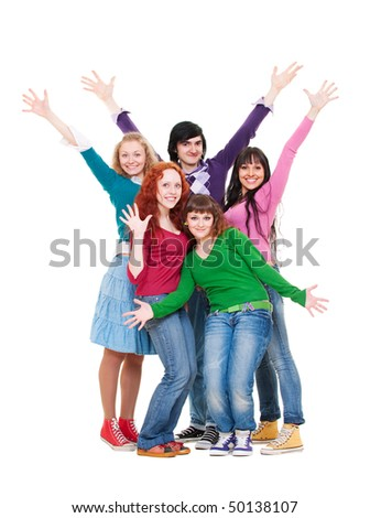 merry and bright group of teenagers. isolated on white - stock photo