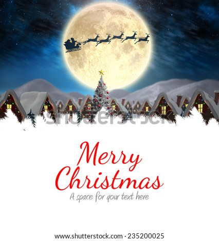 Merry christmas against santa delivery presents to village - stock photo