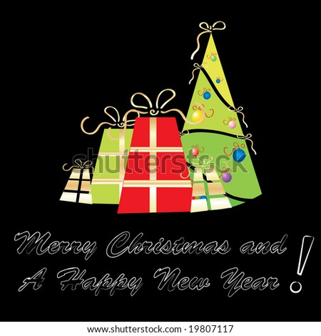 Merry Christmas and A Happy New Year greeting card template, illustration