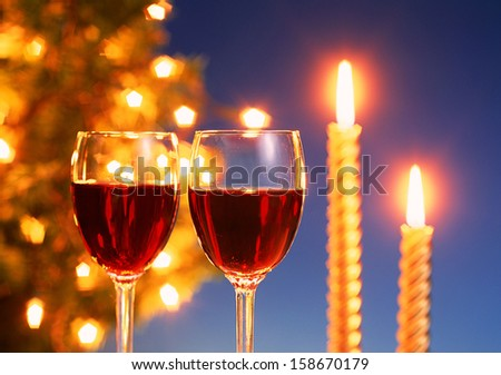 Merry Christmas  and glass wine - stock photo