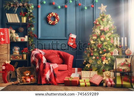 Merry Christmas and Happy Holidays! A beautiful living room decorated for Christmas.