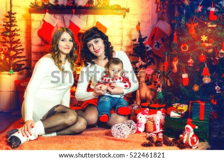 Merry Christmas And Happy Holidays Family 2 Mothers Baby Son Sitting At