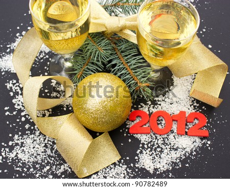 Merry Christmas and Happy New Year 2012 - stock photo
