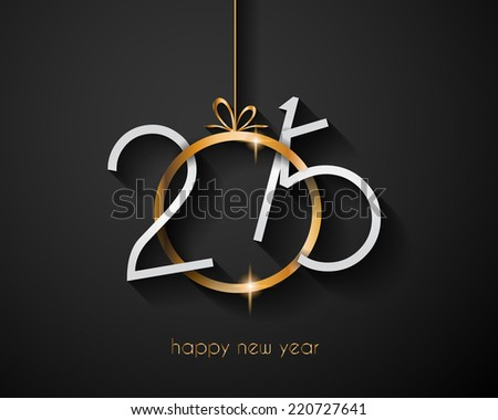 Merry Christmas and Happy New Year Background with holiday themed design elements and background. - stock photo
