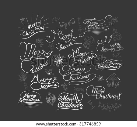 Merry Christmas and Happy New Year calligraphic and Typographic Background - stock photo