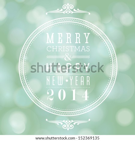 Merry Christmas and Happy New Year card design. Perfect as invitation or announcement. For vector version, see my portfolio.  - stock photo