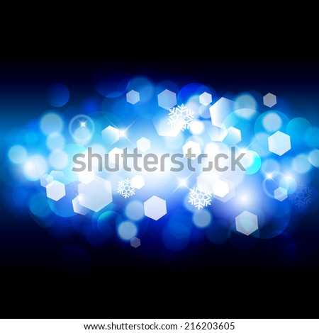 Merry Christmas and Happy New Year card design. Winter bokeh background.