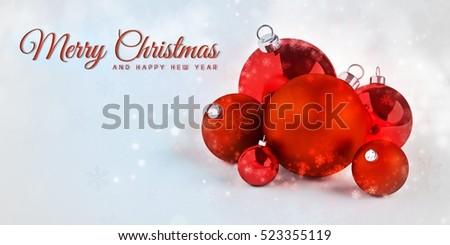 Merry Christmas and happy new year card with 3d rendered Christmas tree balls