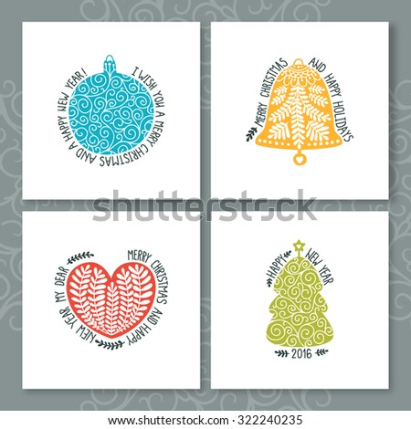 Merry Christmas and Happy New year cards with Christmas decorations, ball, heart, tree, bell and Typographic Wish. Set of cute Greeting cards on white backgrounds - stock photo