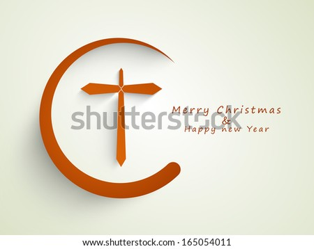 Merry Christmas and Happy New Year 2014 celebration concept with stylish Christian Cross on abstract background.  - stock photo