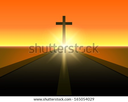 Merry Christmas and Happy New Year 2014 celebration concept with view of Christian cross in evening background.  - stock photo