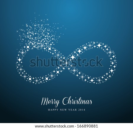 Merry Christmas and Happy New Year 2014 contemporary stars Infinite symbol composition card - stock photo