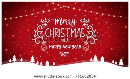 Merry christmas happy new year greetings stock illustration merry christmas and happy new year greetings card template illustration with hanging lights and winter m4hsunfo