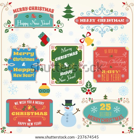 Merry christmas and happy new year holiday decoration colored labels with wishes set  illustration